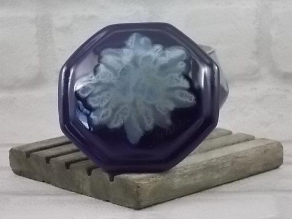 Boite octogonale en céramique vitrifié Bleu Cobalt, flammé Bleu Gris Beige. De Alpho de Saint Uze