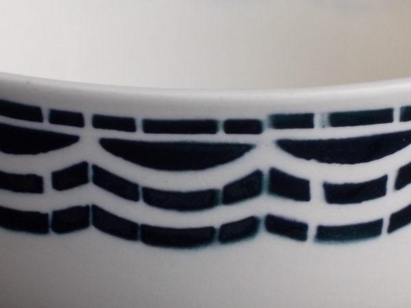 """Bol à céréales """"Loudéac"""", en faience Ivoire, motif géométrique Vert Foncé. De Badonviller Fénal France"""