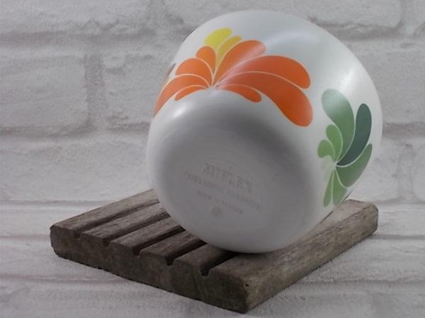 Bol en mélamine Blanc, motif graphique sérigraphié Vert/Marron/Orange, de Miflex