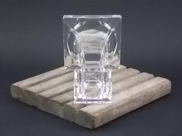 """Bougeoir """"Quartett"""" en Cristal au Plomb. Colonne à base évasé pyramidale, chapiteau pour chandelle de Villeroy & Boch"""