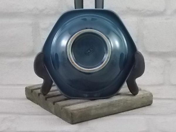 """Cendrier """"LOTO"""", de forme hexagonal, en céramique Bleu Pétrole dégradé, de Gien France"""