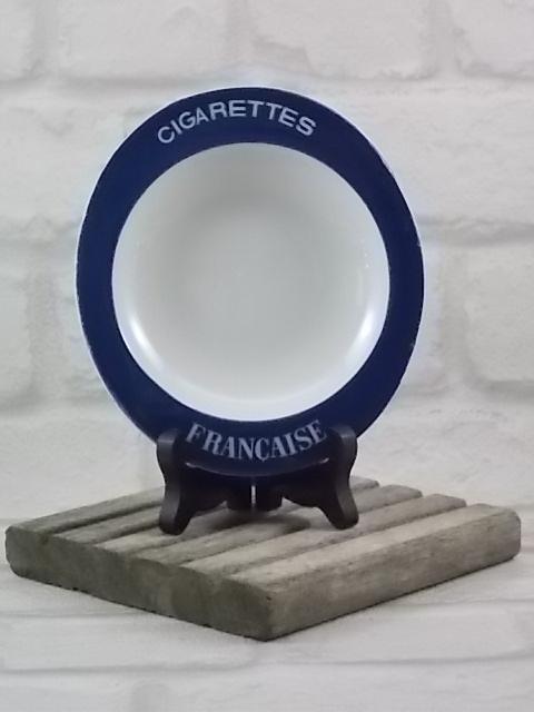 """Cendrier """"Cigarettes Française"""" en faïence Blanche, rebord Bleu de """"Moulin des Loups"""" d' Orchies"""