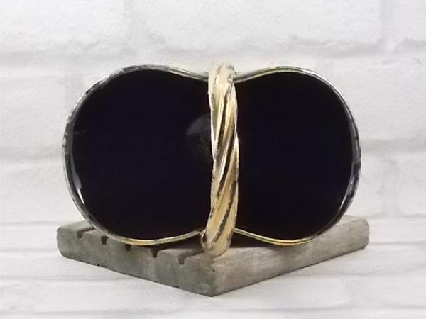 """Coupe """"Panier"""" en céramique Noire et Or, fait main. Corps conique pincé et anse vrillée. De la manufacture de Louviers"""