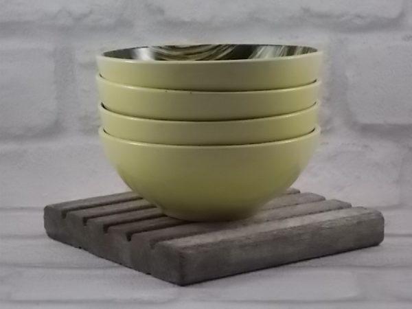 """Coupelle """"Végétal"""", en céramique Jaune. Décors abstrait, peint à la main, aux teintes brunes et Vertes. De Saint Clément"""