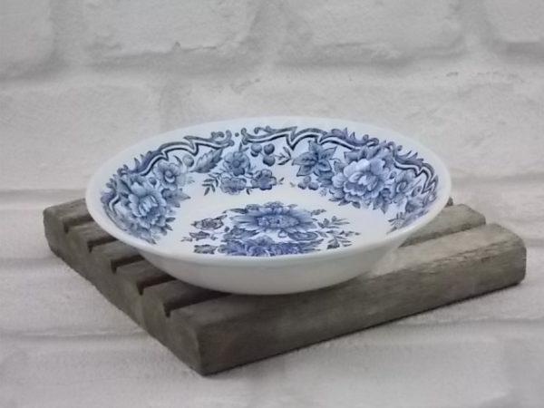 """Coupelle en faïence Blanche peint à la main. Décors """"Clifton"""" motif floral Bleu. De Ridgway, Staffordshire England"""