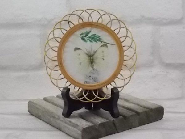 """Dessous de verre """"Papillon"""" en Osier et Bois. Véritable ailes de Papillon. Année 60"""