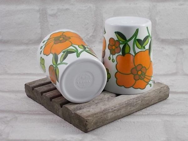 Gobelet Téfal en mélamine Blanc motif floral sérigraphié Orange et Vert