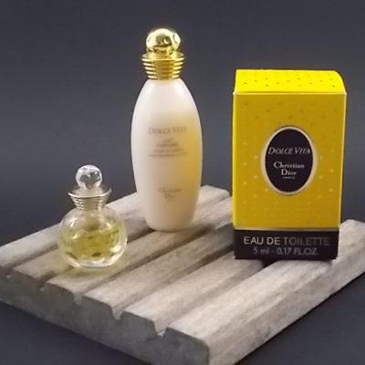 Miniature Dolce Vita EdT 5 ml et Lait 30 ml. Lancé en 1994. De la maison Christian Dior