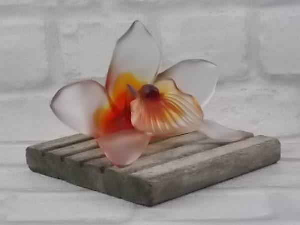 Orchidée en pâte de Cristal de couleur, dégradé d'Orangé, de Royal de Champagne