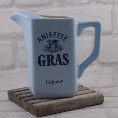"""Pichet Anisette """"Gras"""" Liqueur, en céramique Bleu Ciel et Ivoire, écriture Bleu Foncé"""