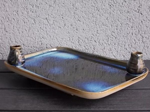 Plateau Apéritif en Grès émaillé rectangulaire Bleu avec cruche porte piques. De la Borne - Cher - Val de Loire