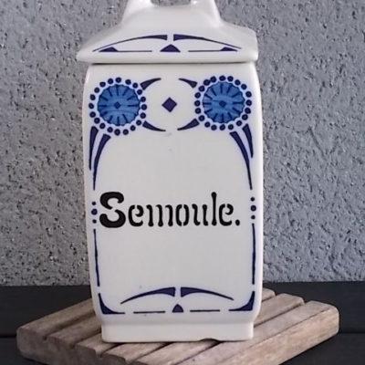 """Pot à Épice """"Semoule"""", en faience Ivoire. Modèle Nanoy Bleu. De Niderviller Moselle."""