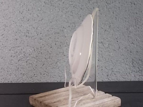 Ravier, en faience Blanche et Jaune pale, rehaussé de frise en dorure, modèle 9728, De L' Amandinoise
