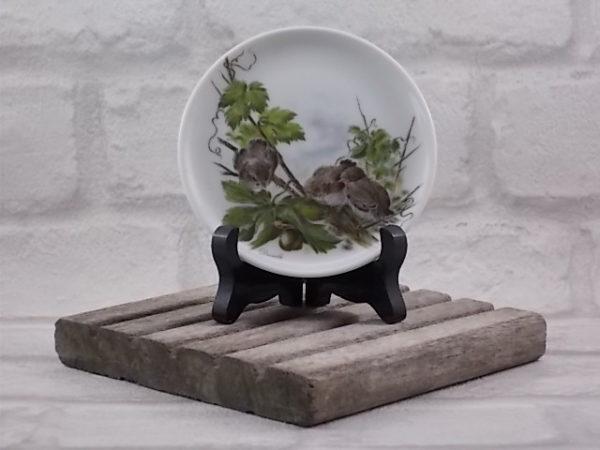 Repose sachet de Thé, en porcelaine Blanche, Décors de Scène Animalière d'Oiseaux. De J. Seltmann, Bavaria