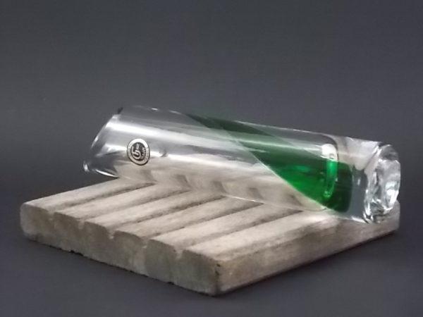 """Soliflore """"Bambou"""" en Cristal fait main. Décors incrustation bande enroulé Verte."""