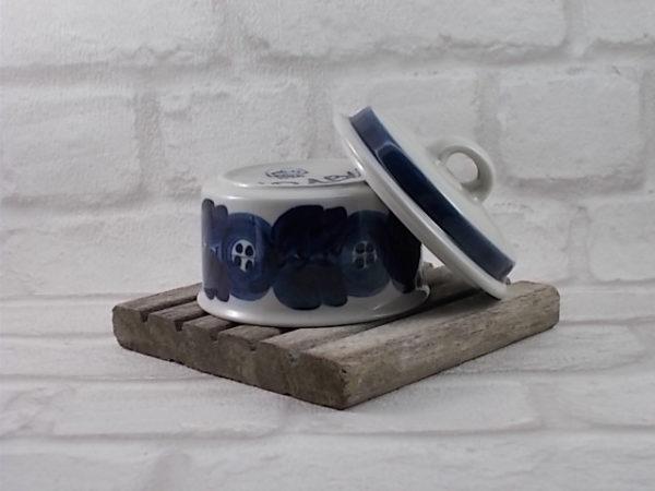 Sucrier en Grès Cérame Blanc, motif ANÉMONE Bleu peint à la main pour ARABIA