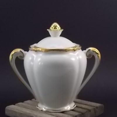 """Sucrier """"Or"""", en porcelaine Blanche et dorure de l'Ancienne fabrique Royale de Limoges France"""