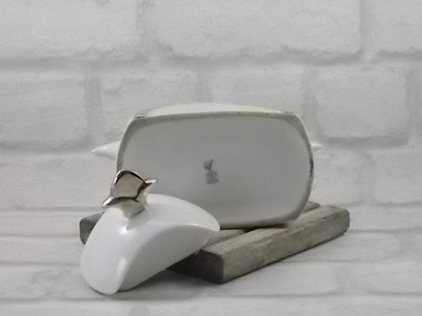 """Sucrier """"Fleur de Lys"""" en porcelaine Blanche, souligné d'Argent fin. Décors polychrome géométrique de T.L.B France Unique Limoges"""