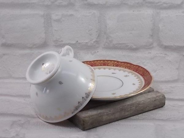 """Tasse à Thé en Porcelaine de Luxe, modèle """"Corse"""", décors """"Napoléon"""" rinceau et liseré dorure de F. Deshoulières"""