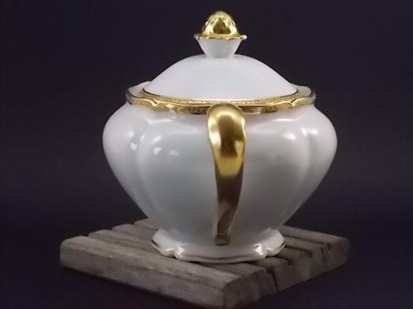 """Théière """"Or"""", en porcelaine Blanche et dorure de l'Ancienne fabrique Royale de Limoges France"""