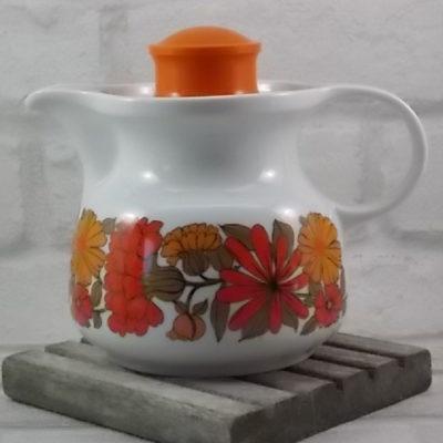 Verseuse à Café en Porcelaine Blanche, décors bande fleurie Orangé, avec couvercle Orange de Seltmann