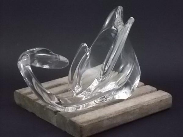 """Vide poche """"Cygne"""" en Cristal. De la cristallerie Art Vannes France, Vannes le Chatel. Année 60"""
