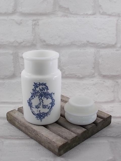 Pots à Épices Italien, en erre Opale Blanc motif Romantique Bleu
