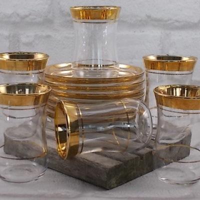 Service à thé Turque, 6 tasses et soucoupes en verre motif ligne dorure