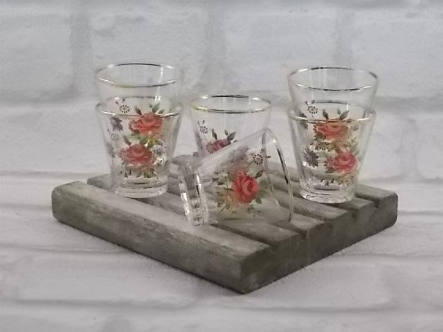"""6 verres à liqueurs """"VMC"""" Reims en verre motif """"Bouquet Fleuri"""""""