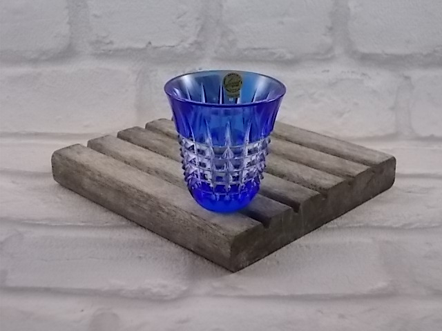 """Verre en cristal taillé Bleu Cobalt """"Cristal d'Arques"""" Double taille Forme Gobelet"""
