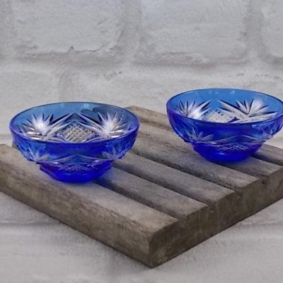 """Coupelle en cristal taillé Bleu Cobalt """"Cristal d'Arques""""Double taille"""