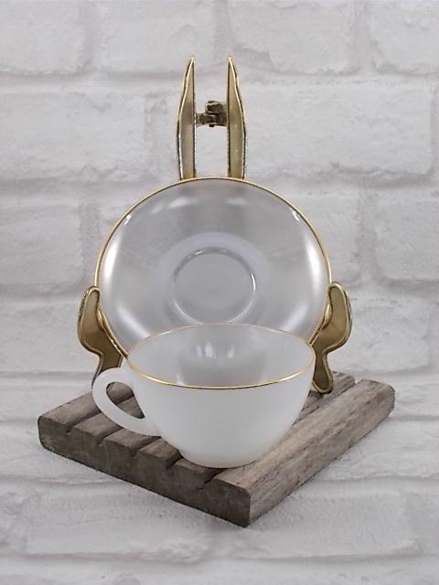 """Service à café """"Arlequin"""" en verre Opale de couleur Pastel Nacré d' """"Arcopal"""" ensemble de 6 tasses et soucoupes - Colorie Gris"""
