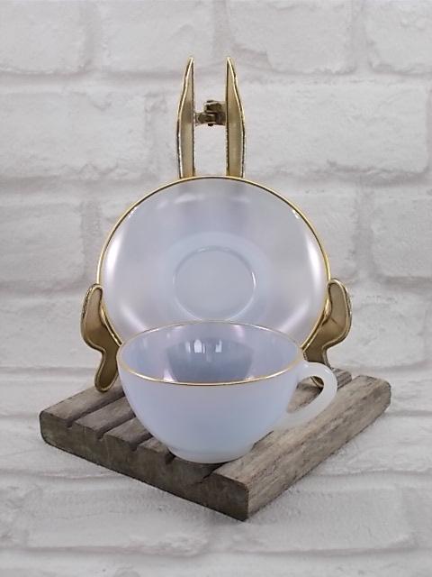 """Service à café """"Arlequin"""" en verre Opale de couleur Pastel Nacré d' """"Arcopal"""" ensemble de 6 tasses et soucoupes - Colorie Bleu"""
