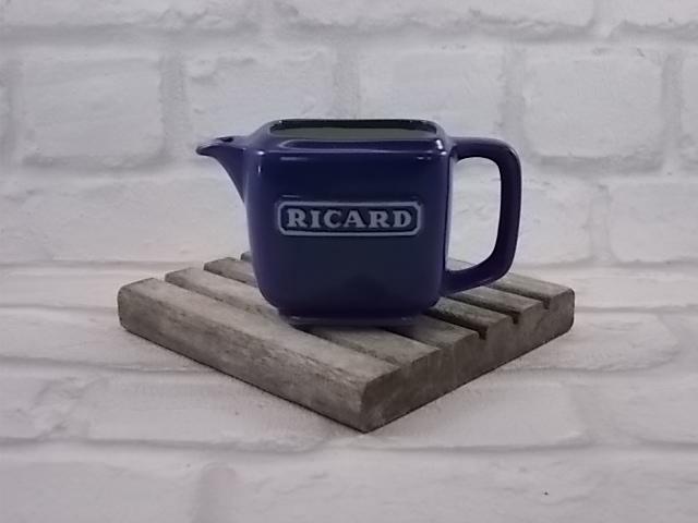 """Pichet mono-dose 10 Cl """"Ricard"""" céramique Bleu, intérieur et logo Blanc"""
