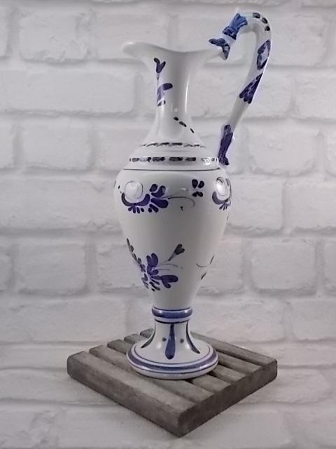 """Cruche """"Liqueur Garnier d'Enghien"""" N°261 faïence forme aiguière Blanche motif Bleu"""