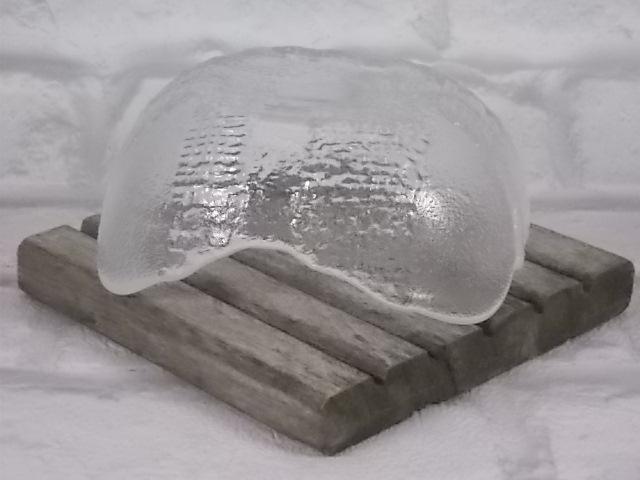 """Coupelle """"Lindshammar"""" Sweden en full Crystal fait main, Année 60, Croix en relief façonmotif tissu et coins givrés, intérieur lisse"""