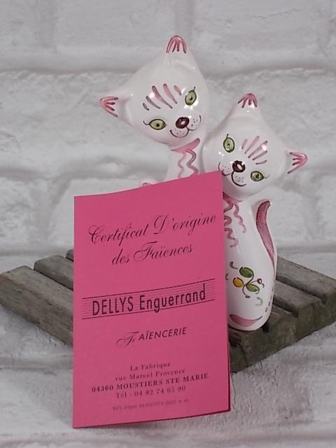 """Couple de Chats en faïence de """"Moustier"""" décors """"Fleur Rose"""" du XIXème"""