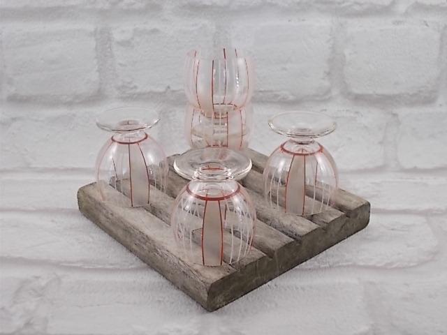 Verre à liqueur forme ballon à pied court, verre soufflé peint à main, alternance rayure Blanches et Orange