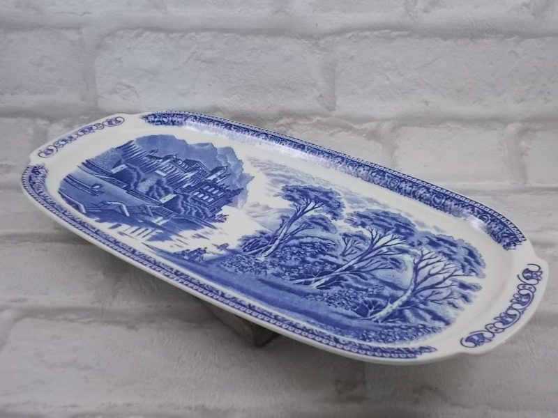 """Plateau en céramique """"Old England"""" de N.V Sphink modèle """"Cambridge Blue"""" Maastricht Holland"""
