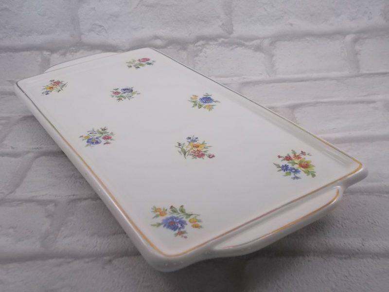 """Plat rectangle à oreille en semi porcelaine Blanche motif """"Bouquet de Fleurs"""" liseré dorure"""