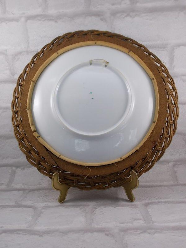 """Assiette porcelaine Blanche décors sérigraphié """"Tête Chat Siamois"""", cadre en Osier tressé vernis"""