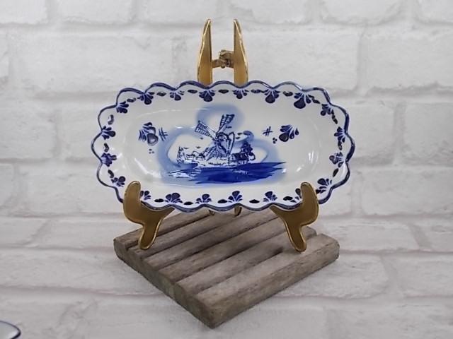 """Pot à crème et sucrier sur plateau peint à la main motif """"Moulin"""" Bleu fond Blanc"""