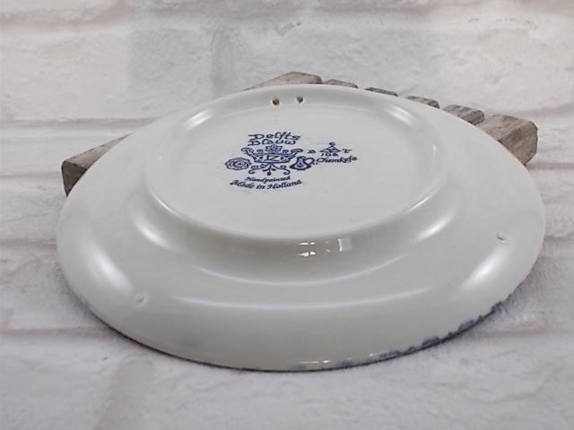 """Petite assiette décoration en faïence de Delfts Bleu, motif peint à la main """"Joine Gorsljens"""" Paon décors floral"""