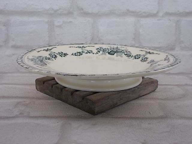"""Serviteur à gâteaux sur pied douche en faïence Ivoire motif Vert. """"R & A Salins"""" modèle """"NINON""""."""